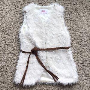 Justice Girl's (8-10) fur vest with removable belt